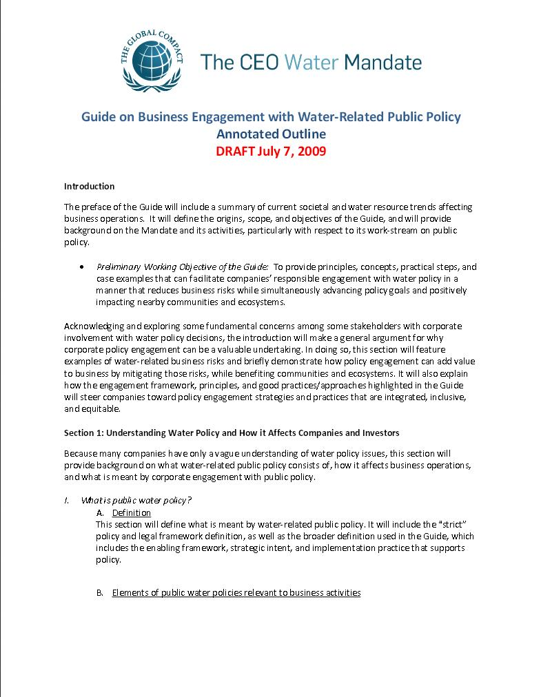 water related public policy annotated outline pacific institute