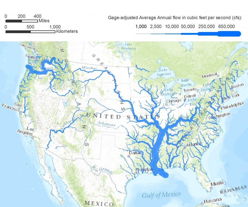 American Rivers A Graphic Pacific Institute - Maps of usa rivers