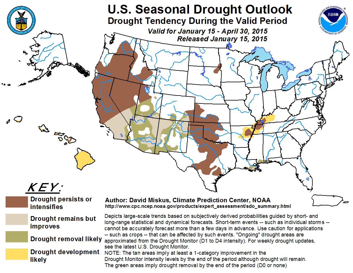 Update From The Pacific Institute California Drought Response - Drought forecast us map