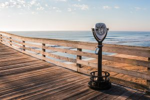 The Virginia Beach Fishing pier with coin-operated sightseeing binoculars.