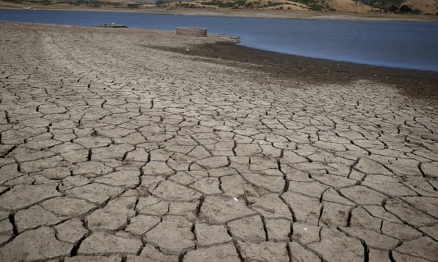 Cracked earth from severe drought
