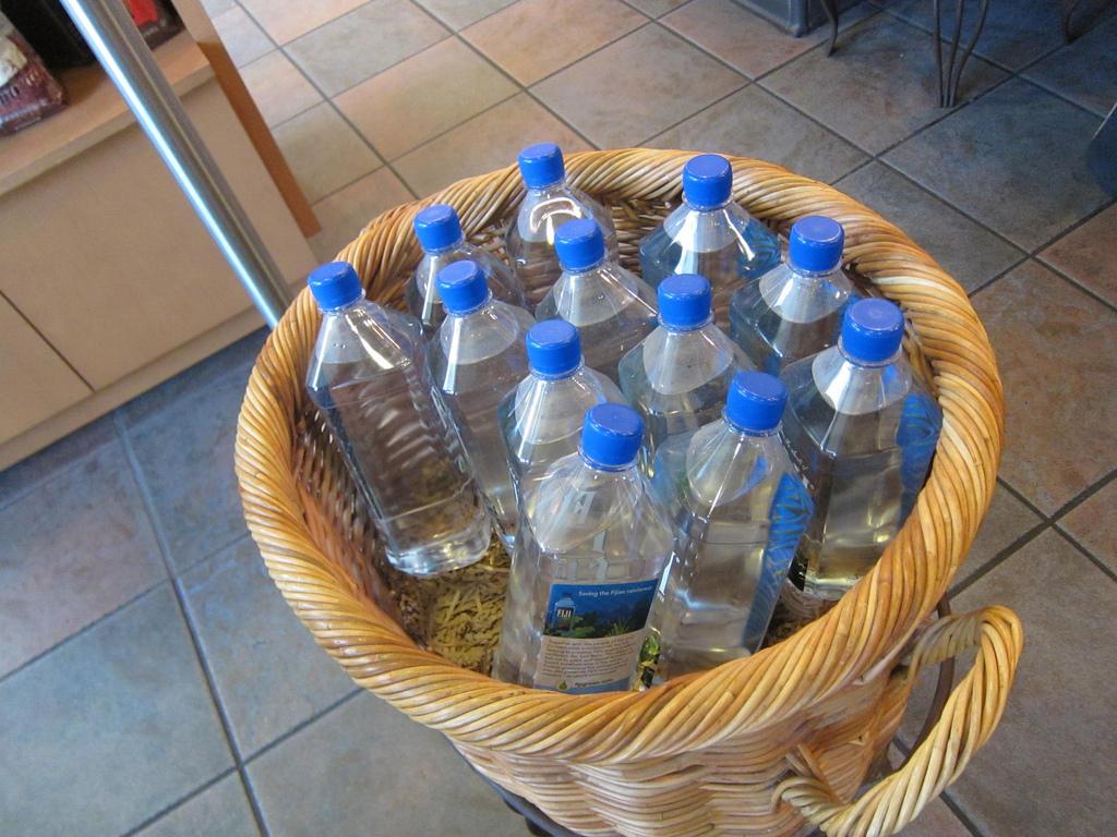 Bottles of water in a basket